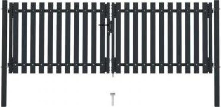 Poarta de gard dubla, antracit, 306 x 150 cm, otel
