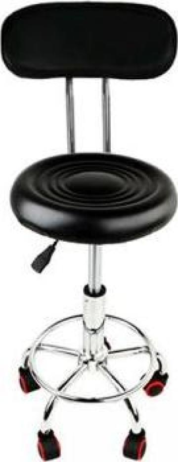Scaun hidraulic cu spatar si roti, negru, taburet rotativ de la Nbw Investments Group Srl