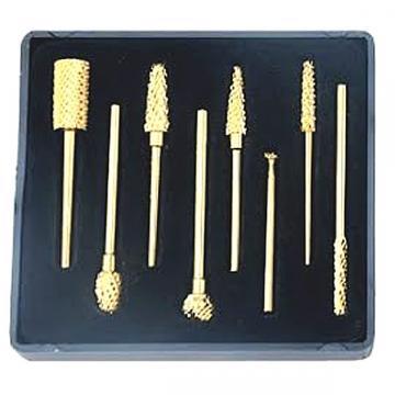 Freze diamantate pentru unghii, cu capete aurite