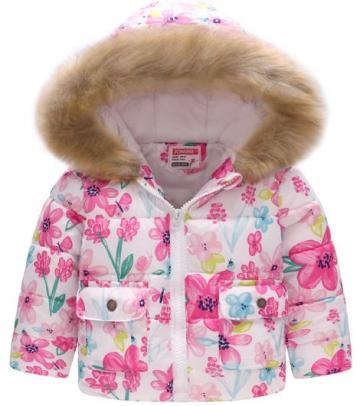 Geaca iarna impermeabila imblanita fete, gluga, alb cu flori de la A&P Collections Online Srl-d