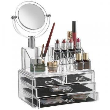 Organizator cosmetice din acril cu 4 sertare si oglinda de la Startreduceri Exclusive Online Srl - Magazin Online - Cadour