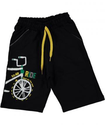 Pantaloni scurti baieti Bike, bumbac, negru