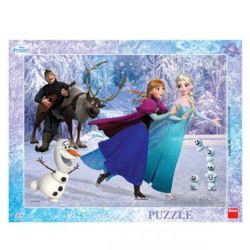 Puzzle cu rama - Anna si Elsa la patinoar (40 piese)