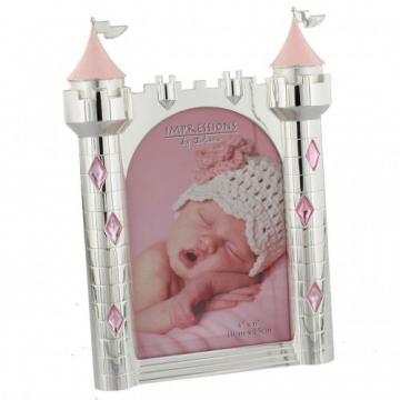 Rama foto argintata castel roz de la Krbaby.ro - Cadouri Bebelusi