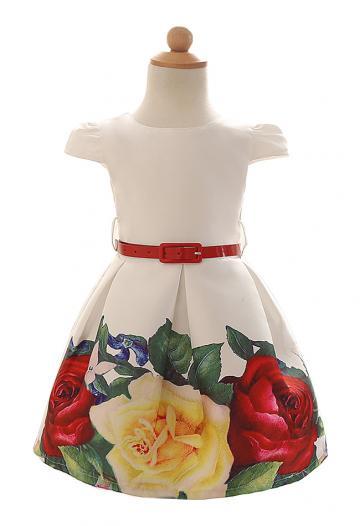 Rochita eleganta din satin, alb cu imprimeu trandafiri de la A&P Collections Online Srl-d