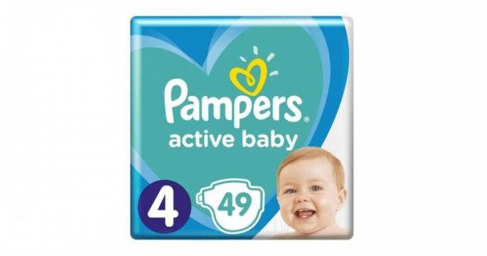 Scutece Pampers Active Baby 9-14kg Maxi 4 (49buc) de la Pepita.ro