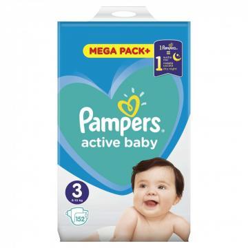 Scutece Pampers Active Baby Mega Pack 6-10kg Midi 3 (152buc) de la Pepita.ro