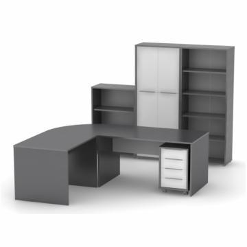 Set mobila birou Rioma SB, grafit combinat cu alb de la Sembazuru Art Srl