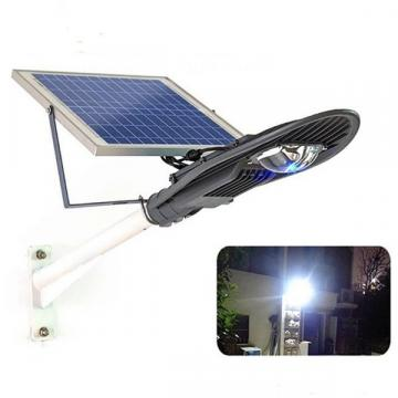Stalp iluminat exterior cu panou solar proiector LED 30W