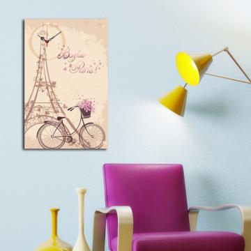 Tablou decorativ cu ceas 1 piesa, Canvas, Wallity, Eiffel