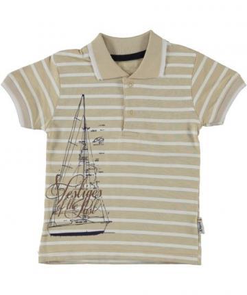 Tricou Polo, Vestiges, bumbac, baieti, bej cu alb de la A&P Collections Online Srl-d