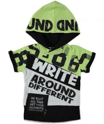 Tricou cu gluga, Beneti, baieti, bumbac, verde de la A&P Collections Online Srl-d