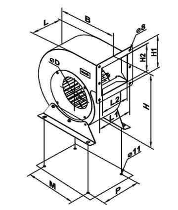 Ventilator centrifugal VCUN 240x114-3.0-2