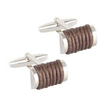 Butoni pentru camasa - Brown Leather Wrap
