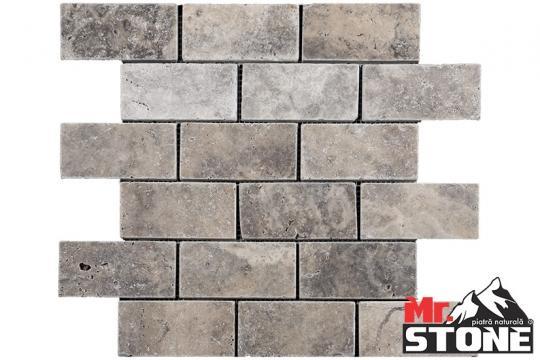 Travertin Mozaic Silver Brick tumbled 2,3 x 4,8cm de la Antique Stone Srl