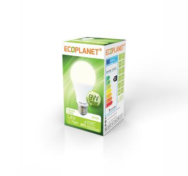 Bec LED A60, 9W (75W), 175-265V, 855LM, 4000K - Ecoplanet de la BCV International Group