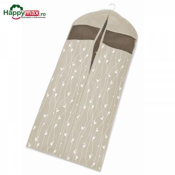 Husa lunga protectie haine-Leaves-bej 137x60cm