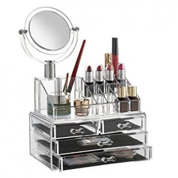 Organizator cosmetice si bijuterii cu oglinda