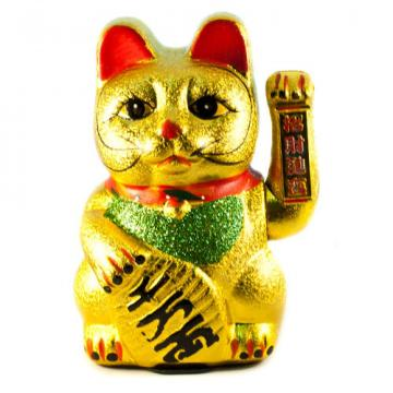 Accesoriu antistres Pisica Maneki aurie saluta