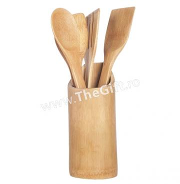 Set 4 ustensile din bambus, cu suport