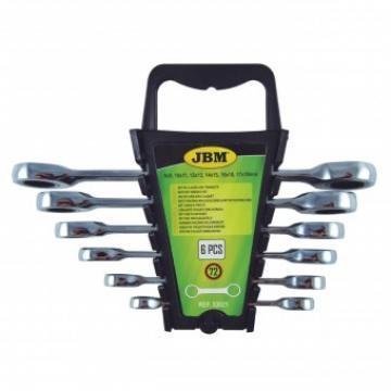Set 6 chei inelare cu clichet JBM 53021, Cr-V, 8-19 mm