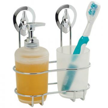 Suport cromat cu pahar perie dinti si dispenser sapun Stick