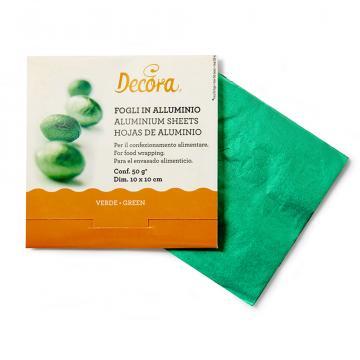Foite aluminiu verde pentru ambalat bomboane de la Cristian Food Industry Srl.