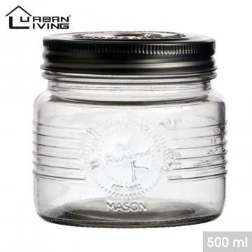 Borcan sticla, capac metalic cu filet - 500ml de la Plasma Trade Srl (happymax.ro)