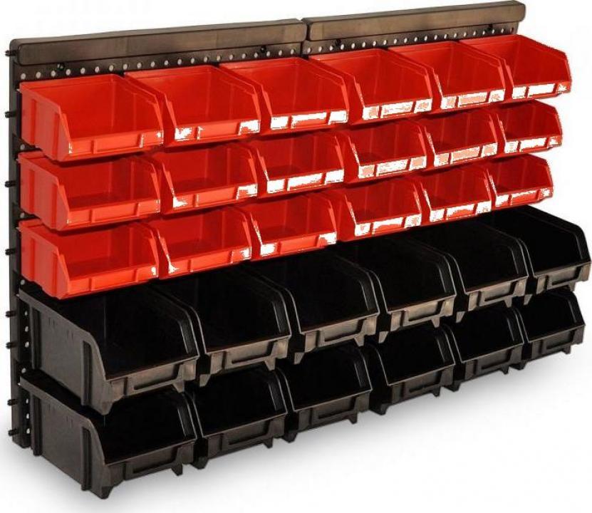 Suport de perete cu 30 cutii depozitare scule si accesorii