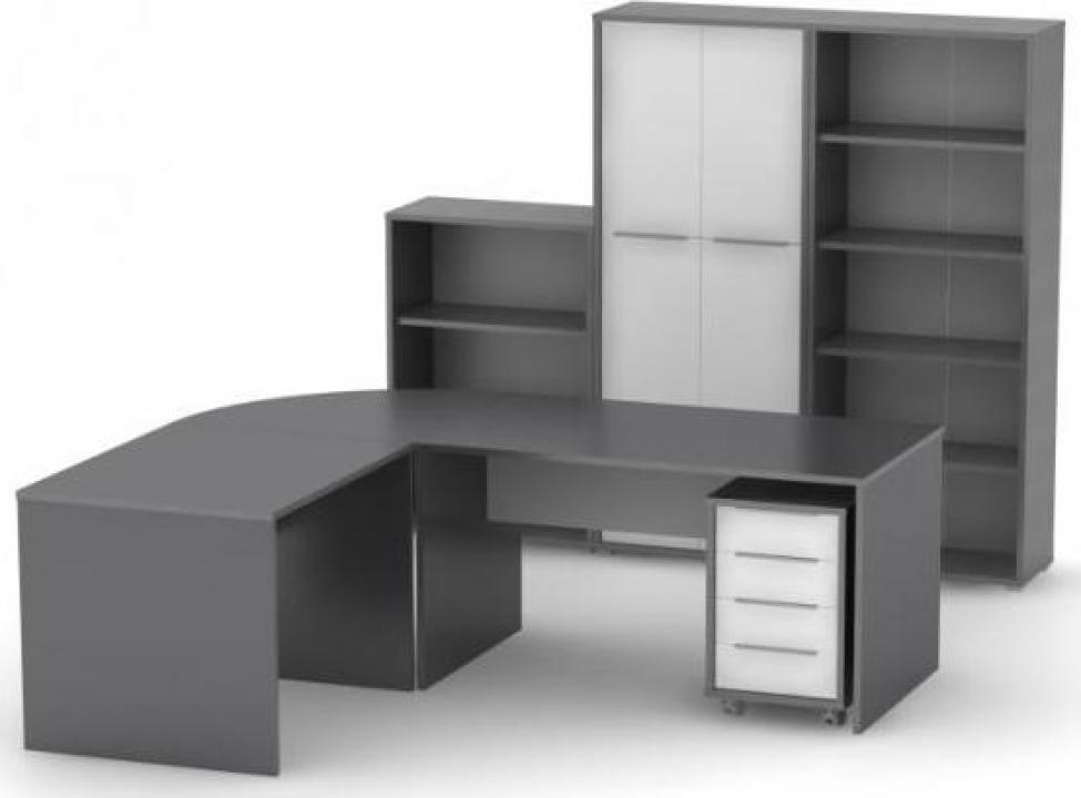 Set mobila birou Rioma SB, grafit combinat cu alb