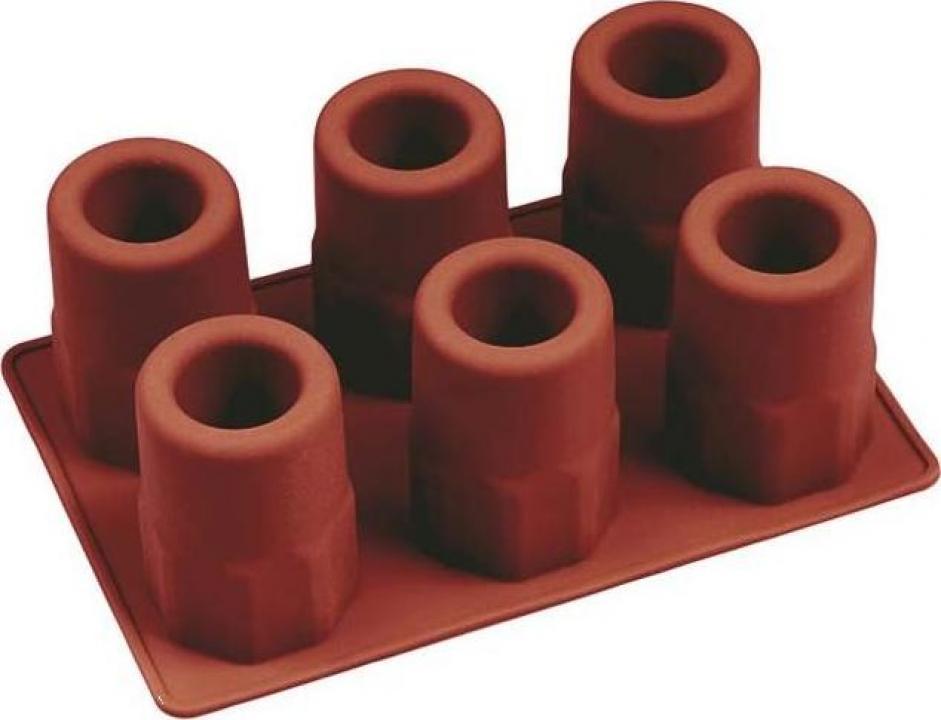 Forma silicon pentru 6 pahare shot, din gheata; 20x14xH7 cm