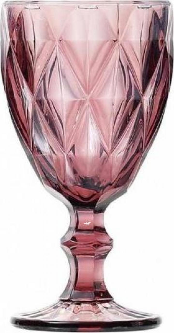 Pahar din sticla cu picior Syros, 350 cc, rozaliu