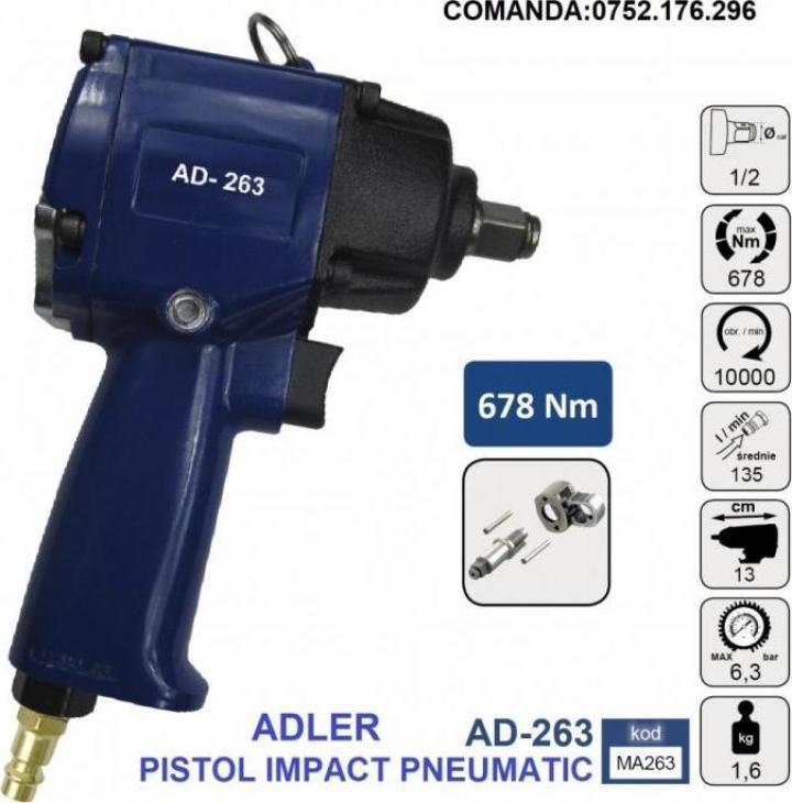 "Pistol impact pneumatic 678Nm 6.3 bari 1/2"", Adler AD-263"
