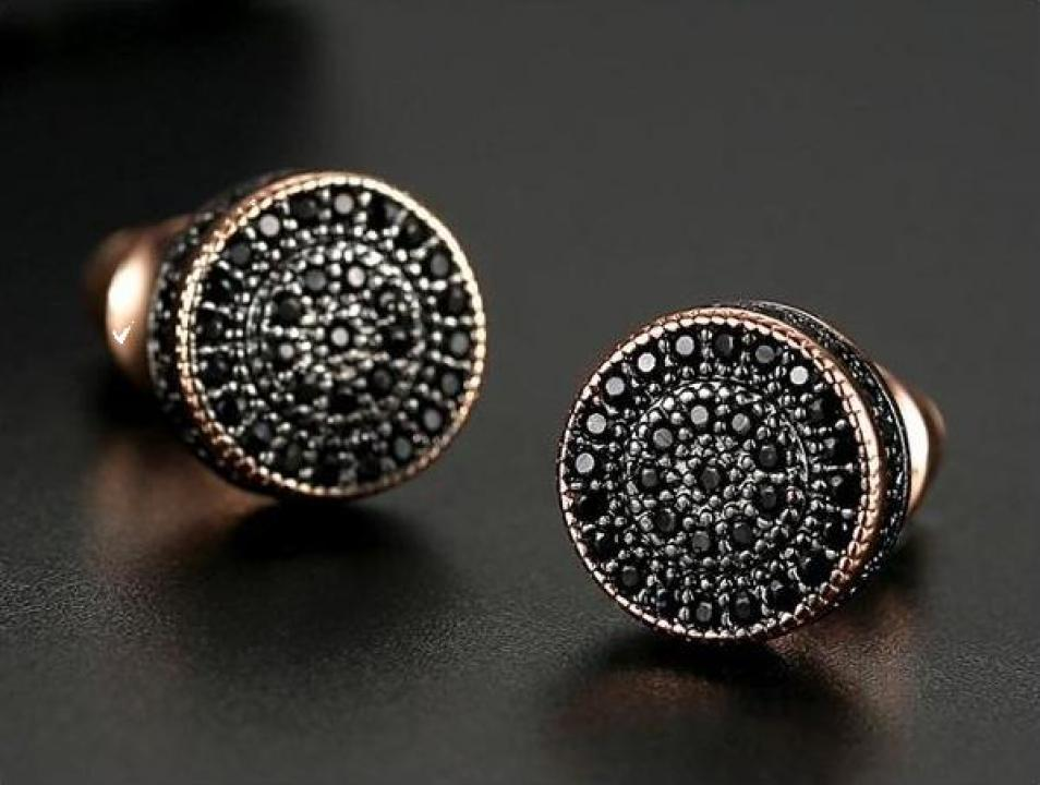 Cercei cu cristale Swarovski Elements Black Roulette