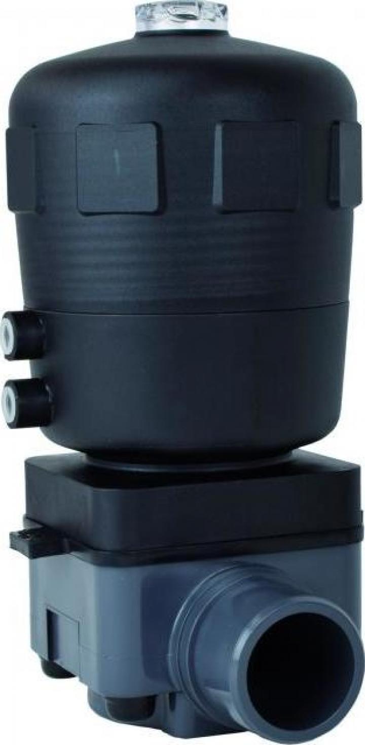 Robinet cu diafragma PVC-U cu actionare pneumatica