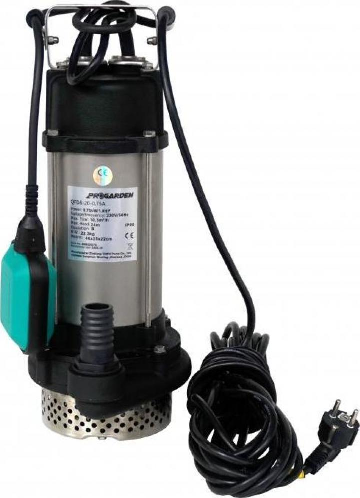 "Pompa submersibila 1.25"", 750W, apa, ProGarden QFD6-20-0.75A"