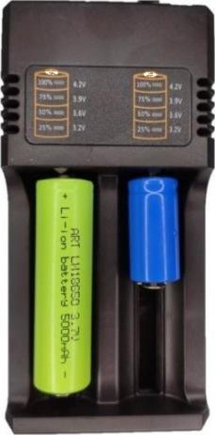 Incarcator universal cu 2 porturi pentru acumulatori Li-Ion